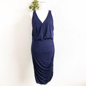 HALSTON HERITAGE Sleeveless Ruched V Neck Dress